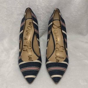 SAM EDELMAN red white and blue striped heels